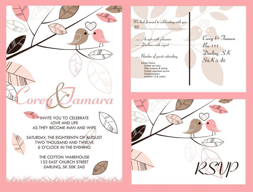 50 Personalized Wedding Invitation And Matching RSVP Set