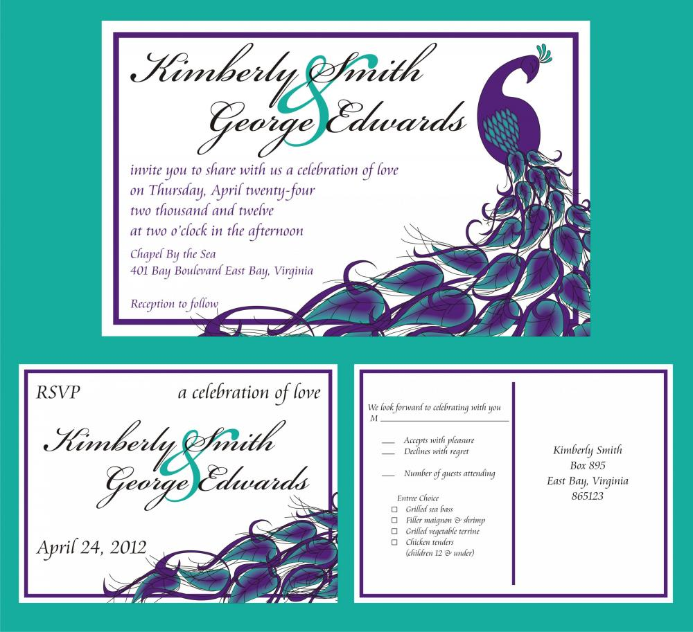50 Personalized Wedding Invitations And Matching RSVP
