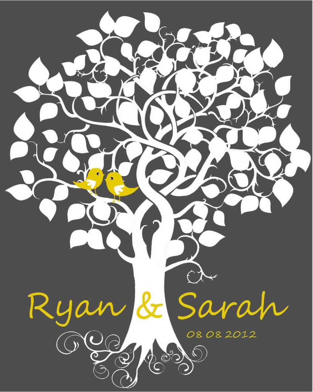 Wedding Guest Signing Tree: Wedding Signature Tree 16x 20 75 Signatures Wedding Guest