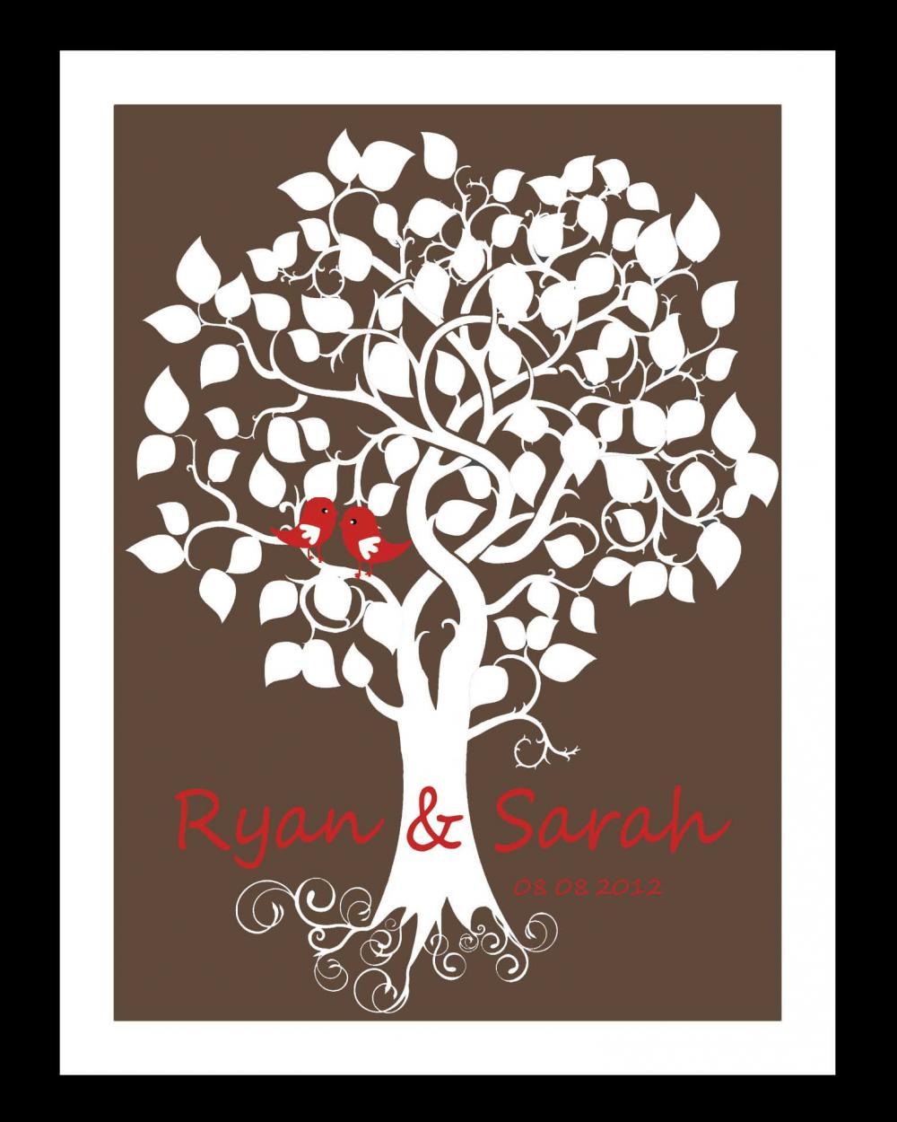 Wedding signature tree, wedding guestbook alternative, 16x20 75 signatures