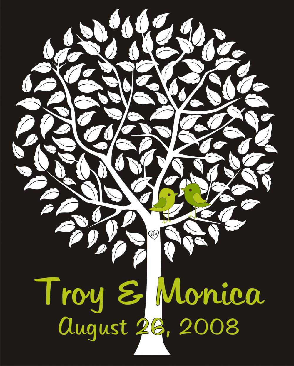 Personalized wedding signature tree, 16x20 100 signatures guest book alternative, wedding fingerprint tree