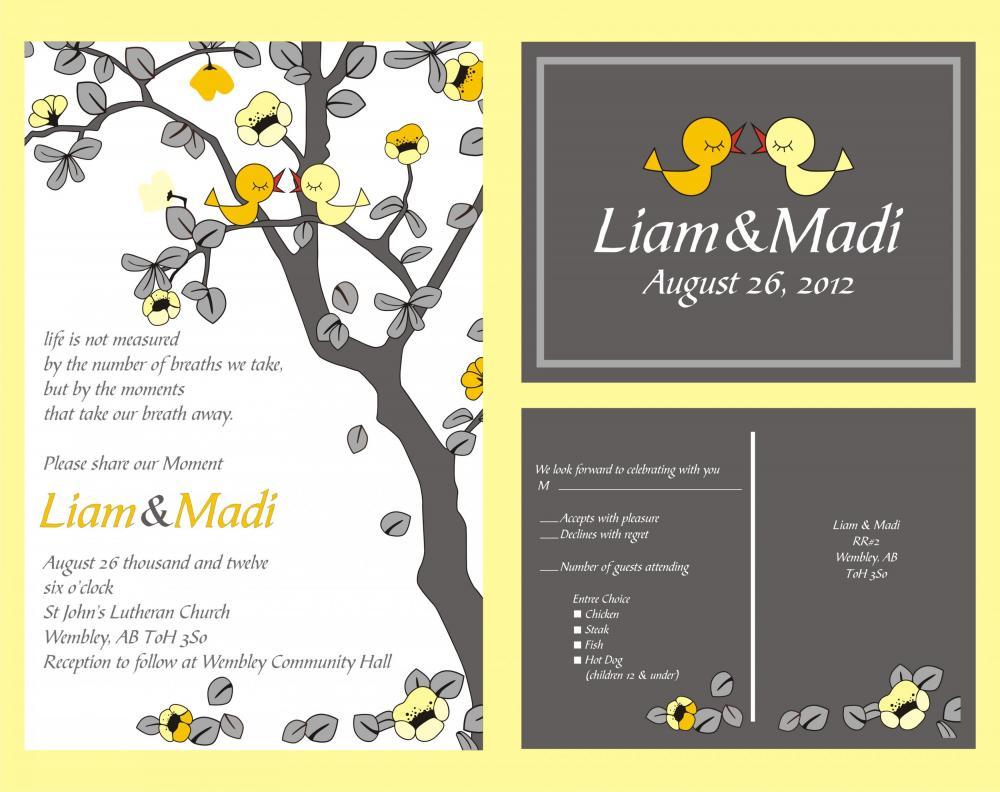 Love Birds Wedding Invitations: Custom Personalized Wedding Invitations- With Love Birds