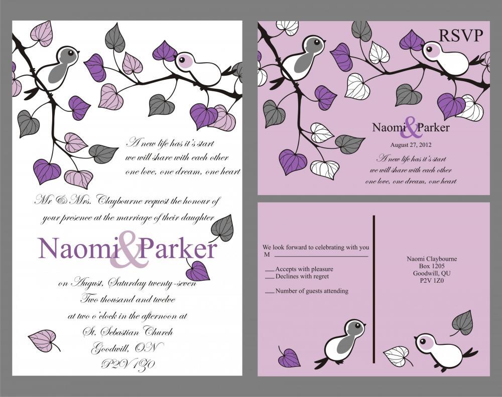 Budget wedding invitation with matching RSVP set love birds in purple custom set
