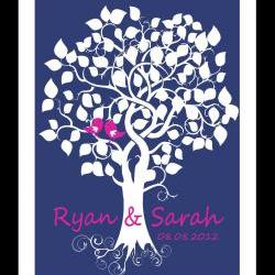 Personalized Wedding Signature Trees 16x20 100 signatures wedding guestbook alternative