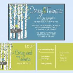 Custom Wedding Invitations: and matching RSVP postcard wedding suite