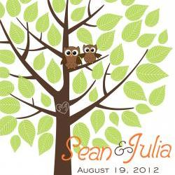 Personalized wedding signature tree 16x20 75 signatures, guestbook alternative tree with owls green