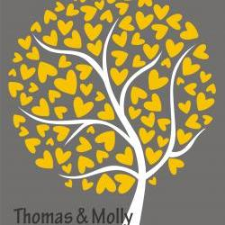 custom personalized wedding signature tree 18x24 120 signatures guestbook alternative heart tree grey and yellow