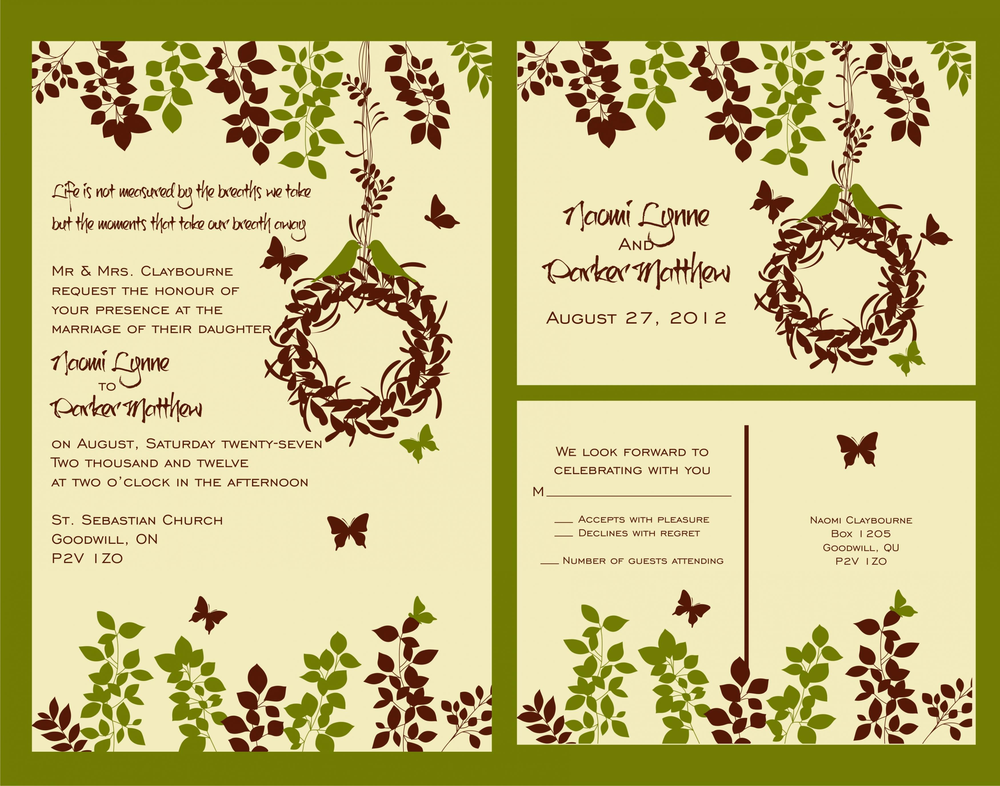 Budget Wedding Invitations Suite With Matching Rsvp Post Card On Luulla